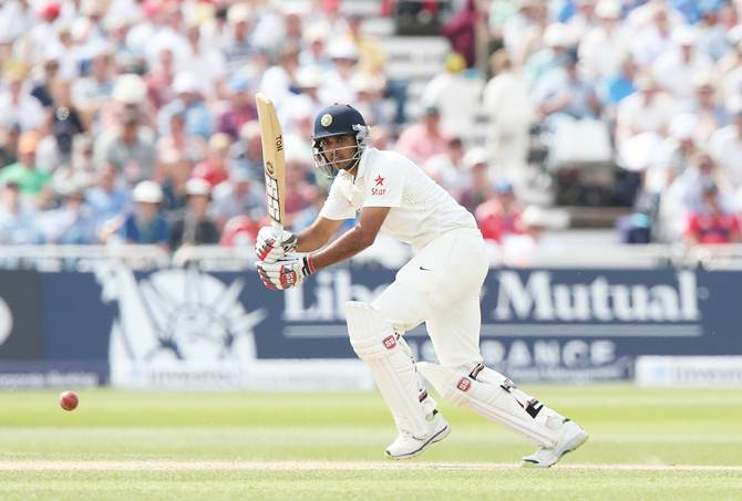 Bhuvneshwar Kumar of India bats during Day 2 of the first Test against England at Trent Bridge