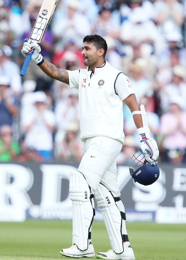 Murali Vijay of India celebrates his century during day one of the 1st Test between England and India at Trent Bridge