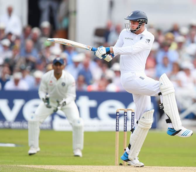 Stuart Broad hits out during his breezy knock