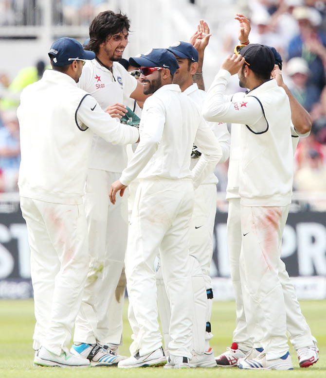 Ishant Sharma of India celebrates the wicket of Ian Bell of England during day three of the 1st Investec Test between England and India at Trent Bridge on Friday