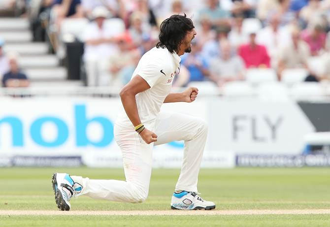 India pacer Ishant Sharma celebrates the wicket of Sam Robson of England during Day 3 of the first Test at Trent Bridge
