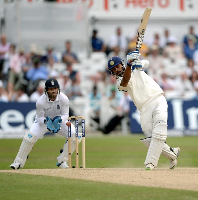 Murali Vijay is caught by England wicketkeeper Matt Prior off Moeen Ali