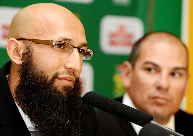 South Africa's Hashim Amla at a press conference