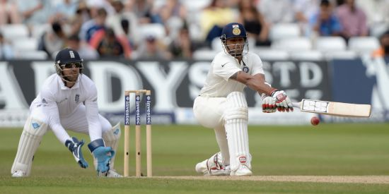 Stuart Binny plays a reverse sweep during his knock