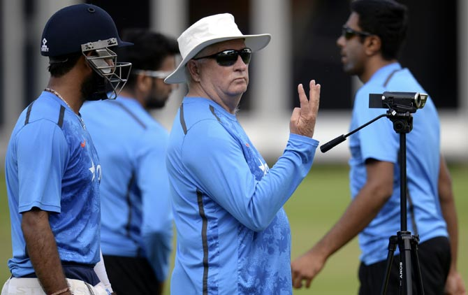 India's coach Duncan Fletcher gestures during a training session