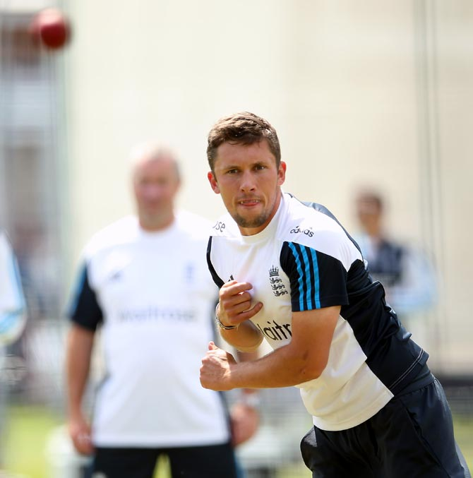 Simon Kerrigan during the England nets session
