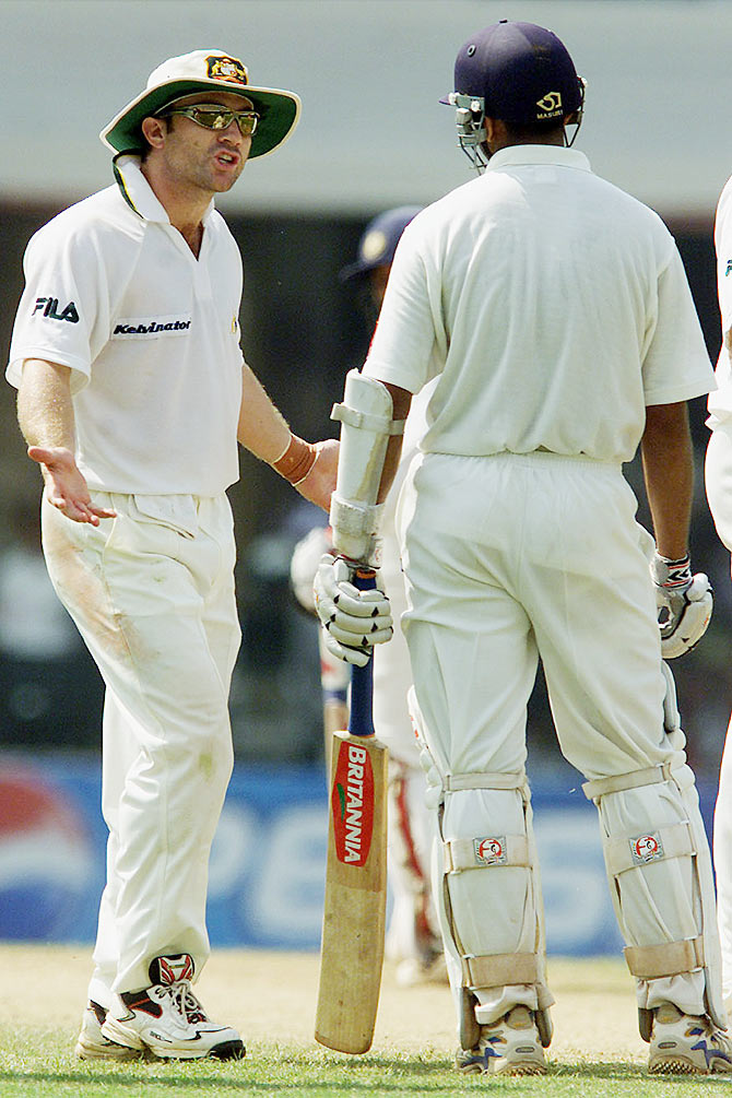 Australia's Michael Slater (left) argues with India's Rahul Dravid after his catch was dissallowed during the third day's play in the first Test at the Wankhede Stadium in Bombay March 1, 2001