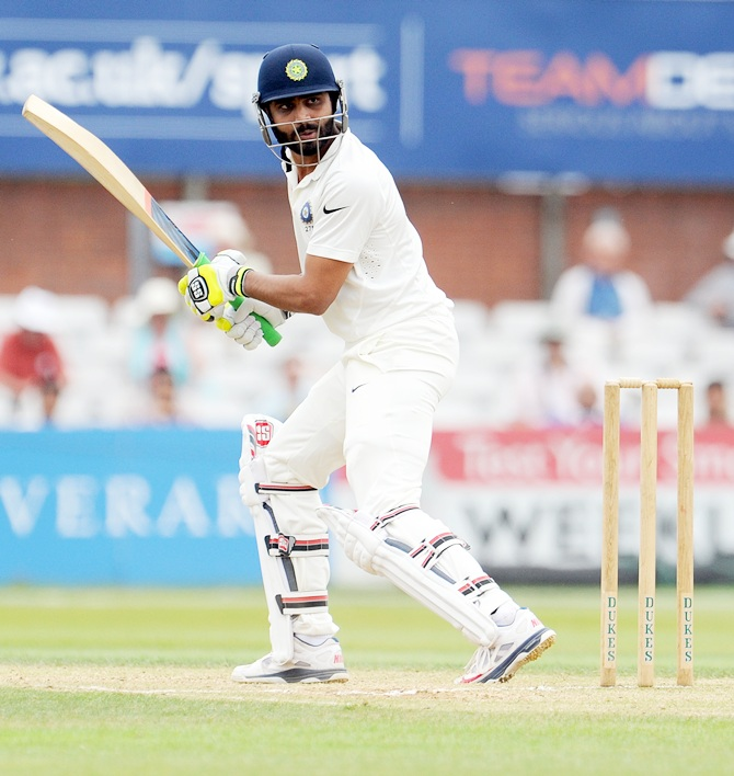 Ravindra Jadeja of India in action
