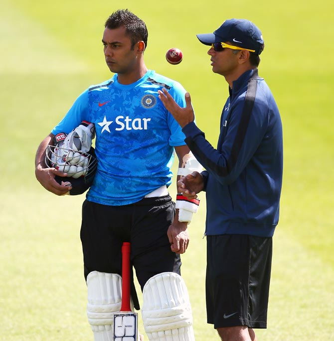 Stuart Binny (left) with Rahul Dravid