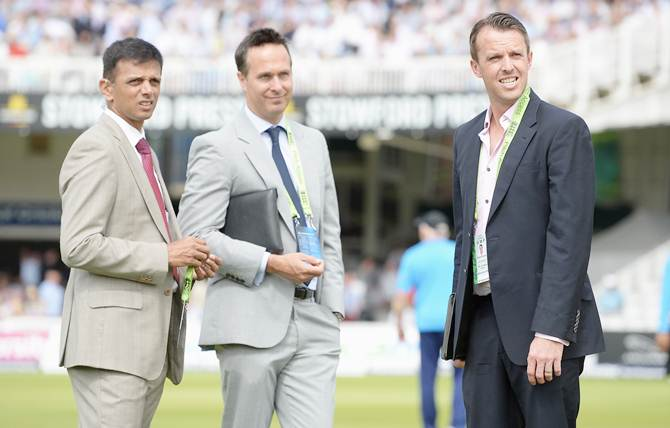 Rahul Dravid with former England players Michael Vaughan (centre) and Graeme Swann before the start of play on Day 1 of the second Investec Test between England and India at Lord's