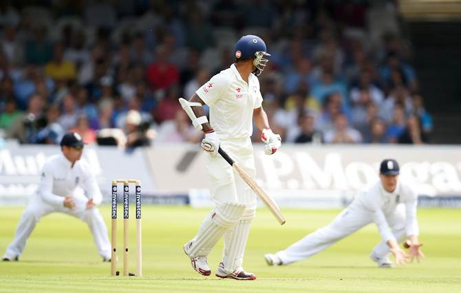 India opener Shikhar Dhawan is caught in the slips Gary Ballance during Day 1 of the second Test against England at Lord's Cricket Ground on Thursday.