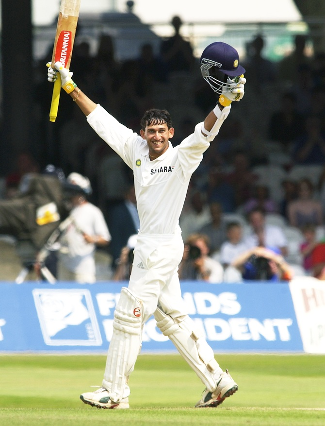 Ajit Agarkar celebrates getting his Test century at Lord's