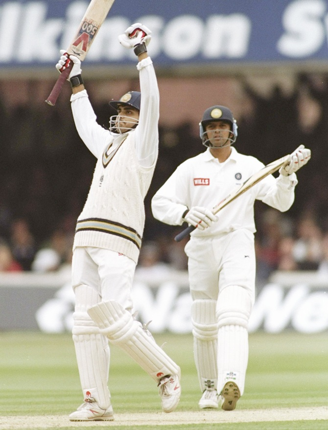Sourav Ganguly scored a century on debut at Lord's, with Rahul Dravid