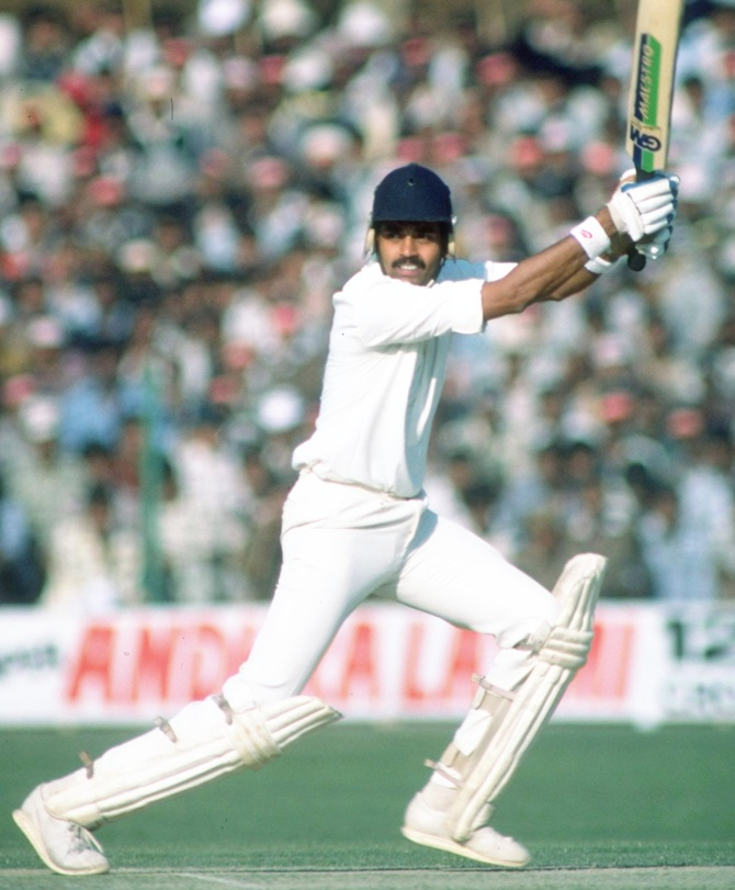 Dilip Vengsarkar of India in action