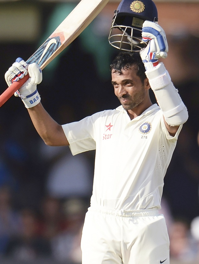 Ajinkya Rahane celebrates reaching his century during the second Test match against England at Lord's cricket ground