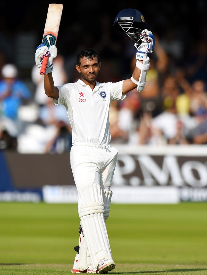 Ajinkya Rahane celebrates after reaching his century
