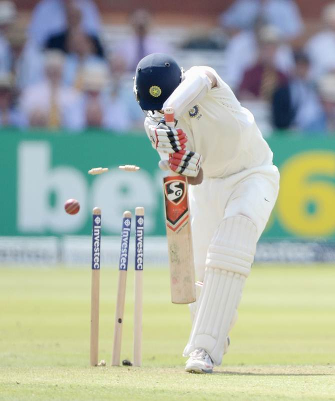 Cheteshwar Pujara is bowled by Ben Stokes