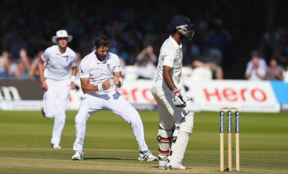 England bowler Liam Plunkett celebrates after dismissing India batsman Cheteshwar Pujara