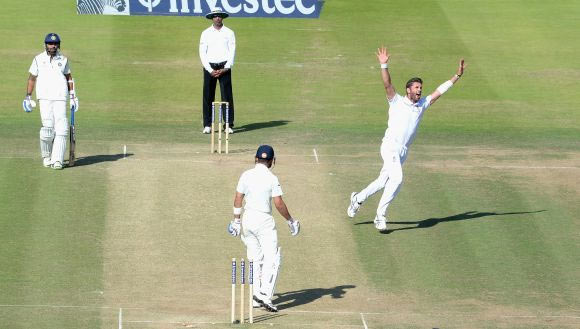 : India batsman Murali Vijay hits out watched by Matt Prior during day three