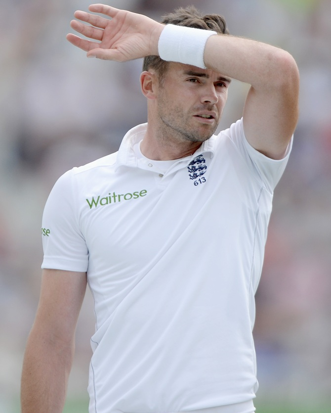 England bowler James Anderson reacts