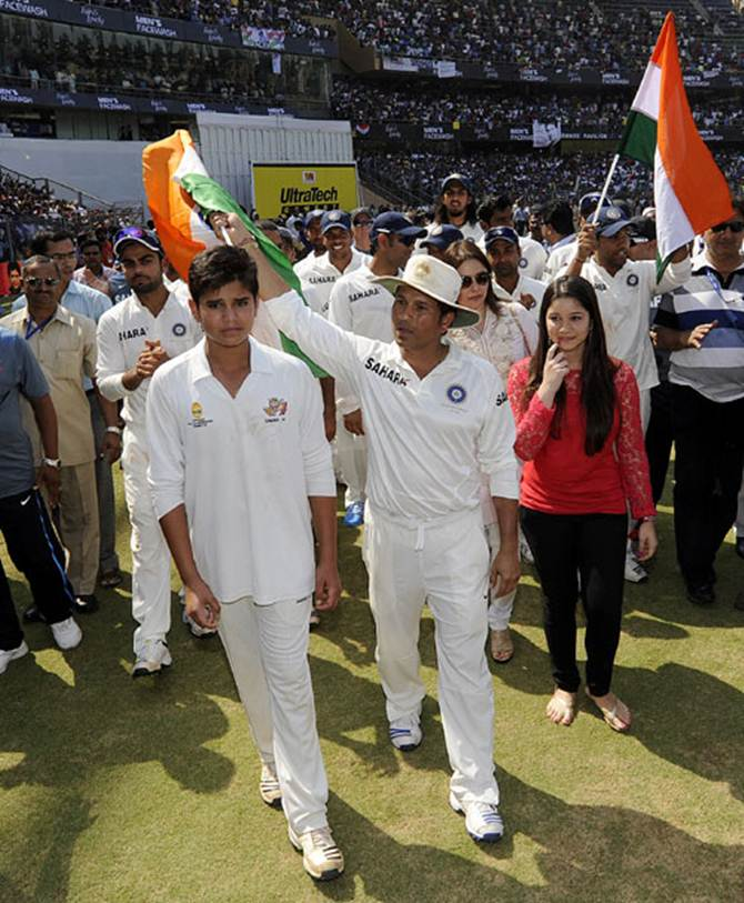 Sachin Tendulkar with son Arjun and daughter Sara after his 200th and final Test at the Wankhede stadium last October.