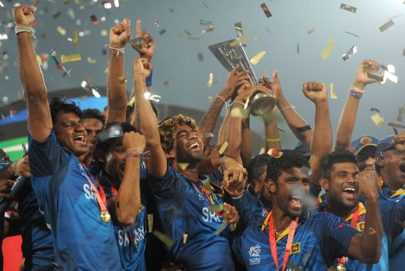Sri Lanka captain Lasith Malinga lifts the trophy after winning the ICC World Twenty20