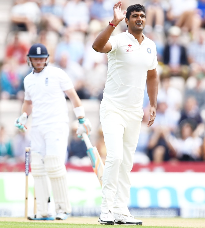 India bowler Pankaj Singh politely enquires for a decision on England batsman Ian Bell during day two of the 3rd Investec Test