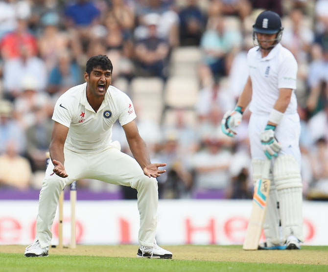 Pankaj Singh of India looks disapointed after his appeals for the wicket of Ian Bell was turned down