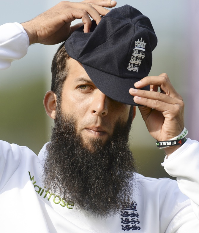 England's Moeen Ali wears wristbands supporting Gaza and Palestine during the third Test against India at the Rose Bowl in Southampton