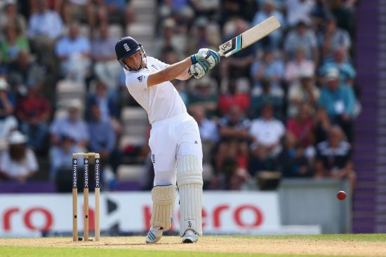 Jos Buttler of England hits to the onside during day two of the 3rd Investec Test match between England and India