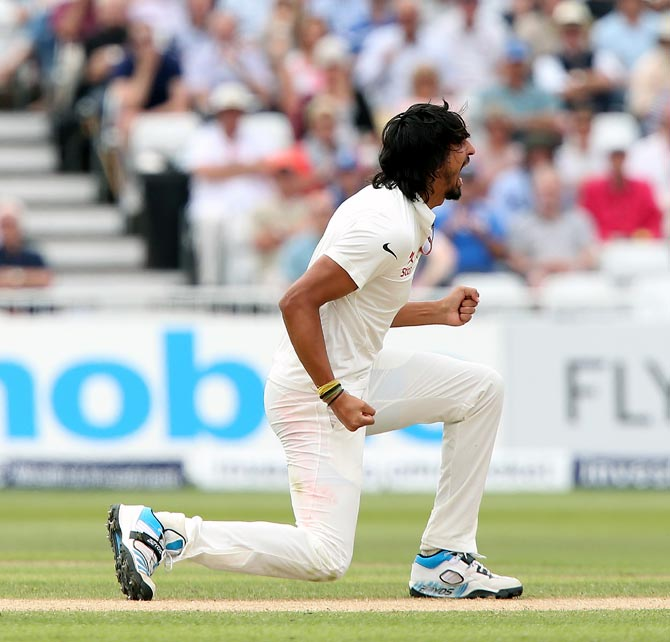 Ishant Sharma celebrates Sam Robson's wicket in the first Test at Trent Bridge.