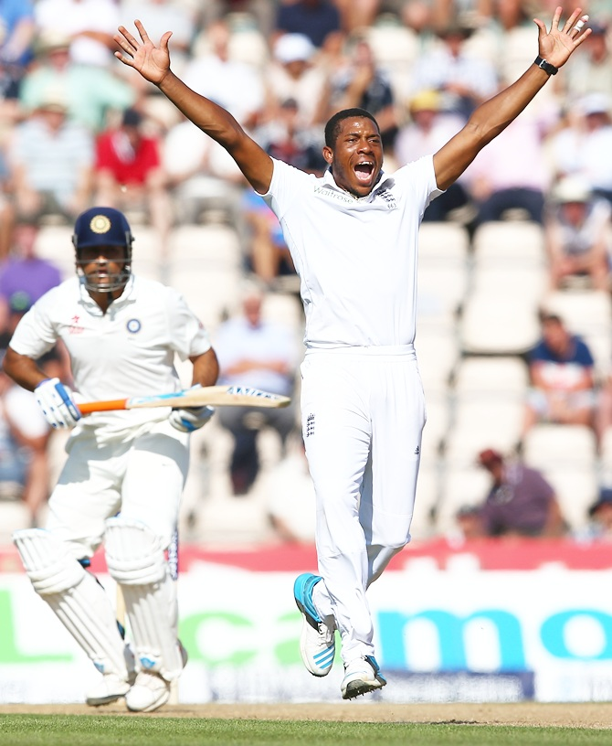 Chris Jordan of England makes an unsuccessful appeal for the wicket of MS Dhoni of India