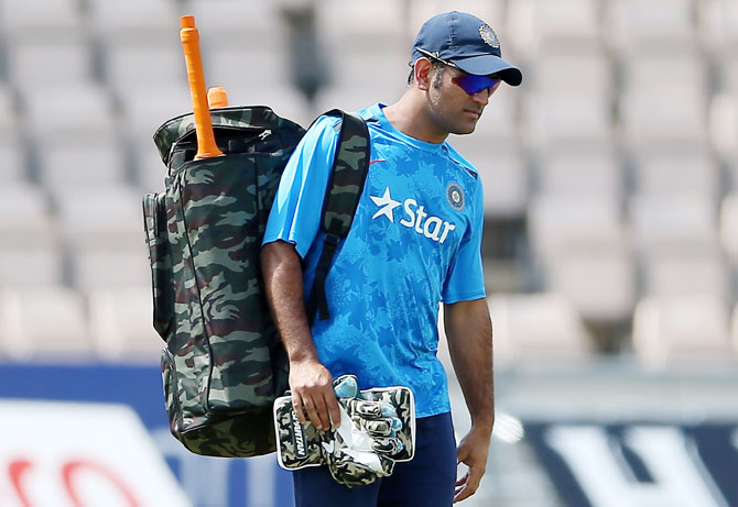 India captain MS Dhoni at Ageas Bowl in Southampton