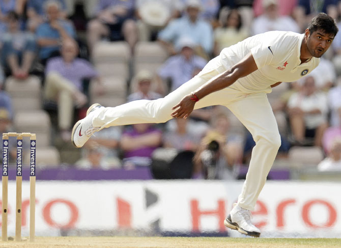 India's Pankaj Singh bowls during the third Test match against England at the Rose Bowl