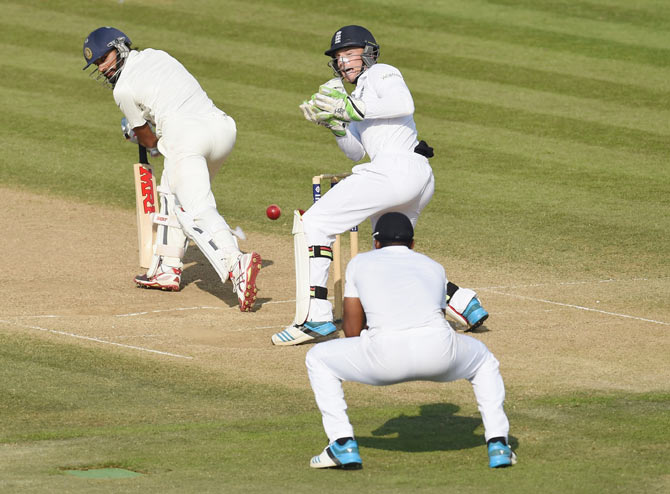 India batsman Shikhar Dhawan is caught by Chris Jordan during day four of the 3rd Investec Test match between England and India at Ageas Bowl on Wednesday