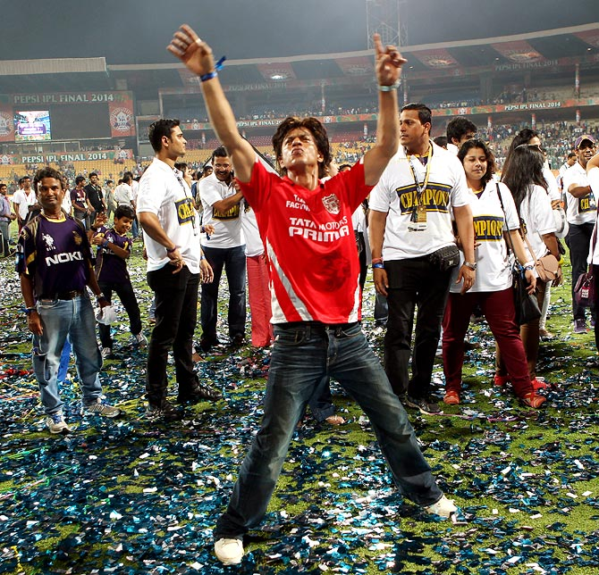Shah Rukh Khan celebrates after Kolkata Knight Riders beat Kings XI Punjab in the IPL final.