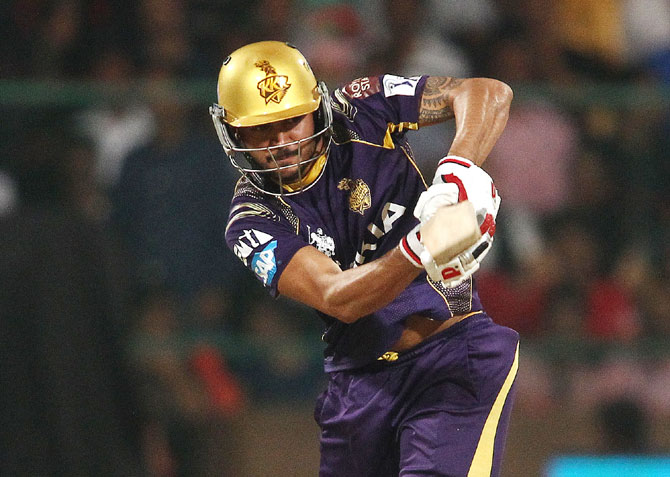 KKR's Manish Pandey plays a shot