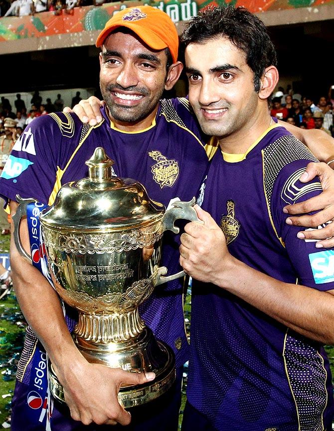 Robin Uthappa (left) with Gautam Gambhir