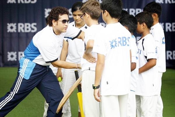 Sachin Tendulkar conducts a masterclass session with young cricketers at the Singapore Cricket Club.