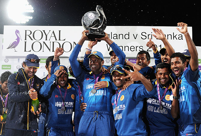 Sri Lanka celebrate winning the series after the Royal London One Day International match between England and Sri Lanka at Edgbaston in Birmingham, England on Tuesday