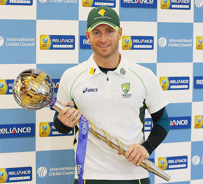 Australia captain Michael Clarke with the ICC Test mace on Wednesday