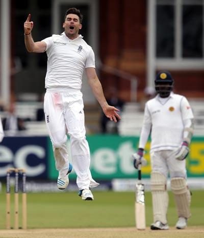 James Anderson of England celebrates