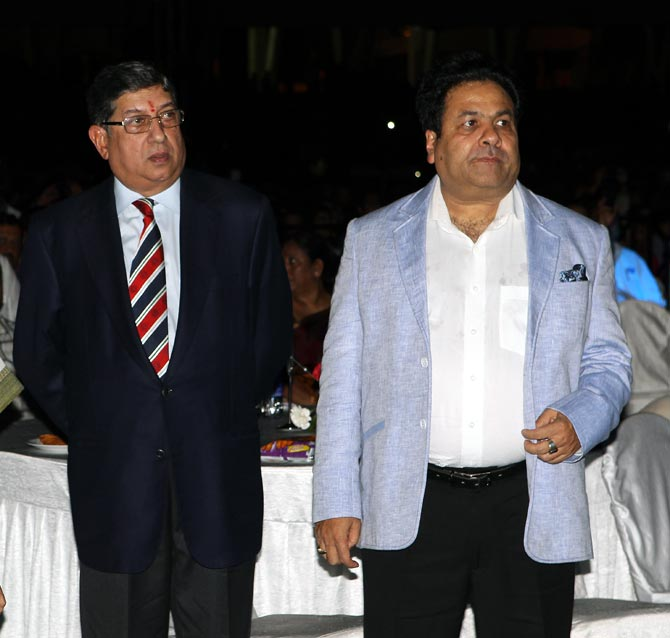 Narayanaswami Srinivasan (left) with Rajiv Shukla