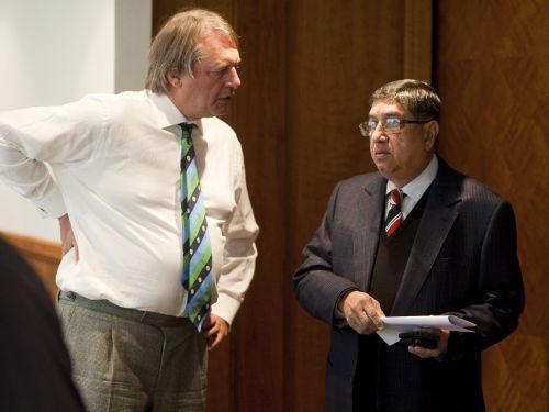 Narayanaswami Srinivasan and ECB chairman Giles Clarke