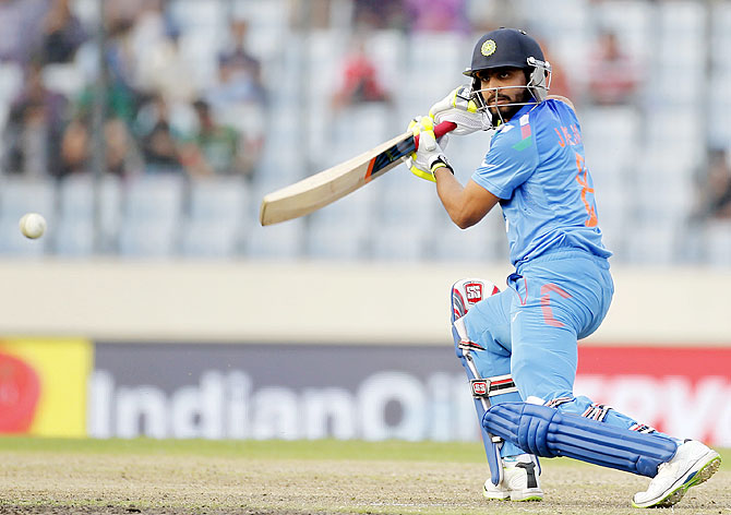 India's Ravindra Jadeja plays a shot against Pakistan on Sunday