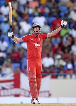 England captain Stuart Broad celebrates hitting the winning runs in the second One Day International against West Indies