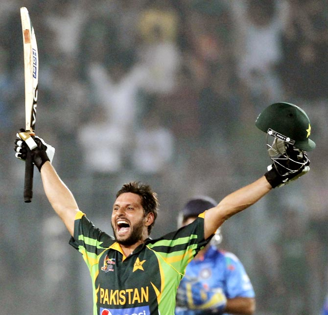 Pakistan's Shahid Afridi celebrates victory against India.