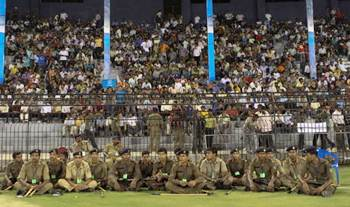 Police personnel on duty at an IPL match