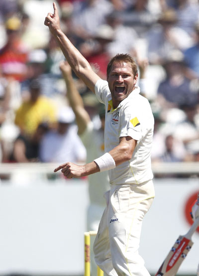 Australia's Ryan Harris celebrates taking a wicket in Newlands
