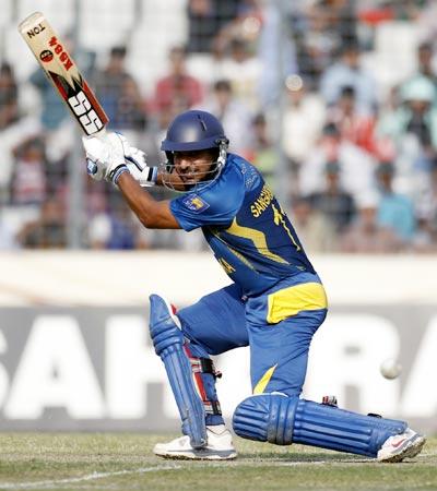 Kumar Sangakkara hits a shot